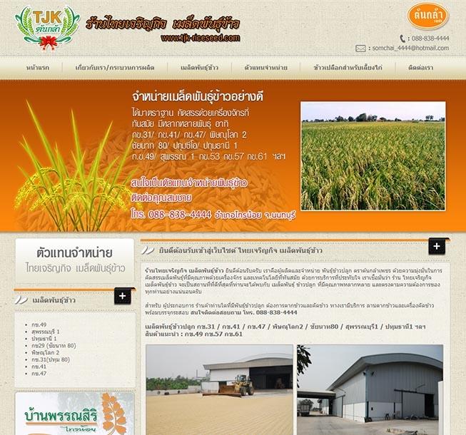 ออกแบบเว็บไซต์ ผู้ผลิตและจำหน่าย พันธุ์ข้าวปลูก ตราต้นกล้าเพชร