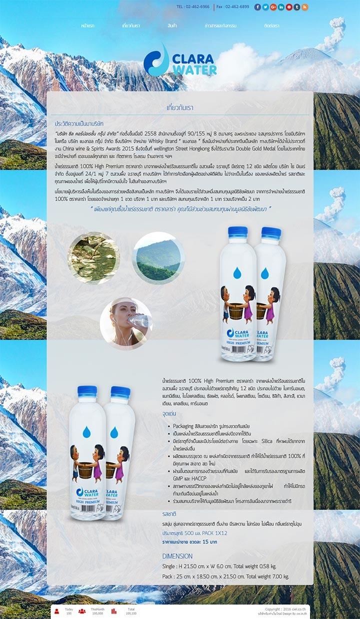 รับทำการตลาดออนไลน์เว็บไซต์น้ำดื่มน้ำแร่ธรรมชาติ-ตราคลาร่า